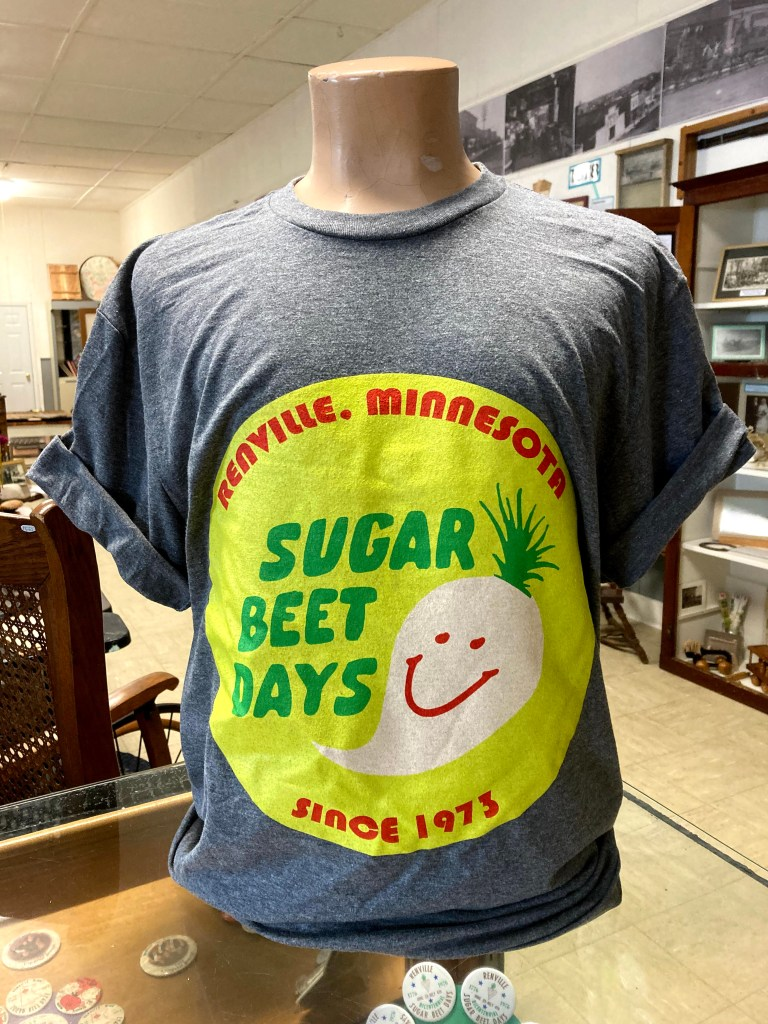 Sugar Beet Days tshirt on display at the Renville Museum